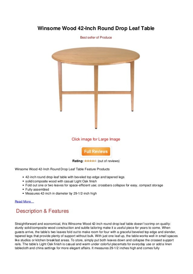 Winsome Wood 42 Inch Round Drop Leaf Table ...