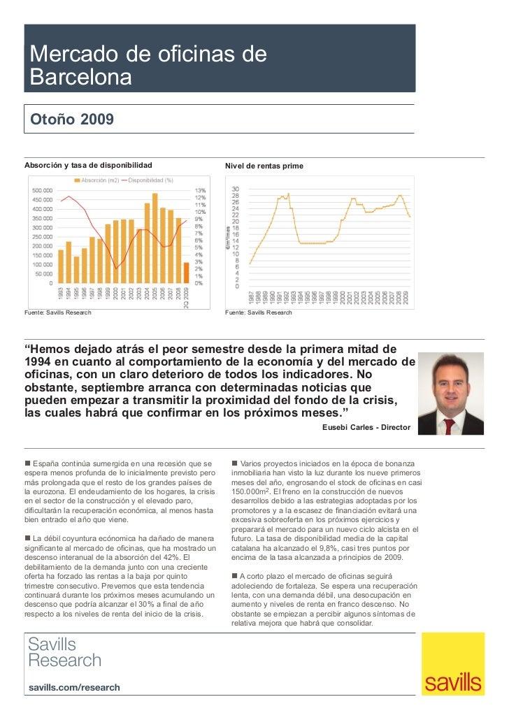 Mercado de oficinas de Barcelona  Otoño 2009Absorción y tasa de disponibilidad                         Nivel de rentas pri...