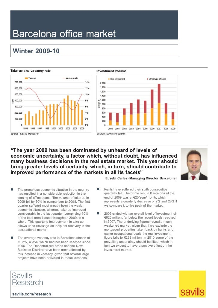 Barcelona office market  Winter 2009-10Take-up and vacancy rate                                   Investment volumeSource:...