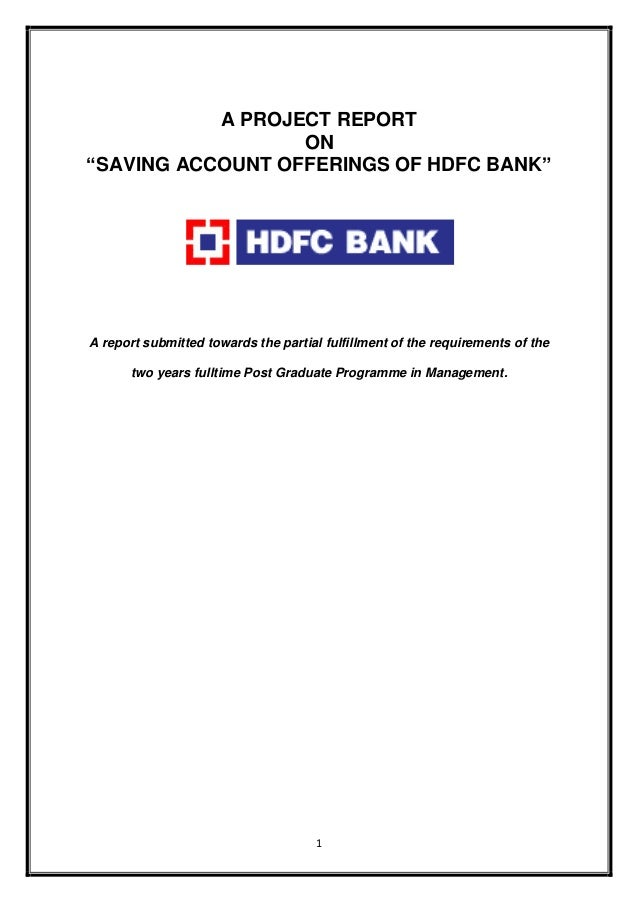 hdfc bank project Summer training project report on hdfc bank pdf projectsformbablogspotcom project final report on banking by at summer internship projectprojectsformbablogspotcom 2.