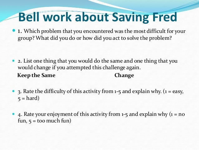 Saving Fred PowerPoint Saving Fred 10 Bell Work About Saving Fred