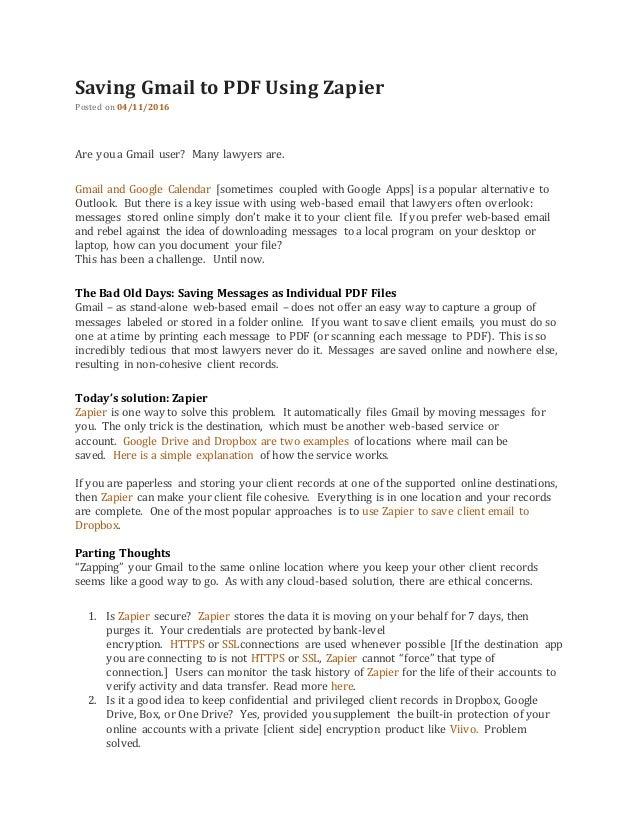 Saving gmail to pdf using zapier