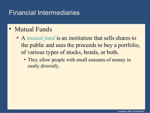 Copyright © 2004 South-Western Financial Intermediaries • Mutual Funds • A mutual fund is an institution that sells shares...