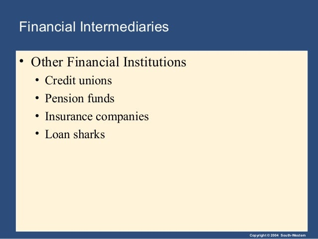 Copyright © 2004 South-Western Financial Intermediaries • Other Financial Institutions • Credit unions • Pension funds • I...