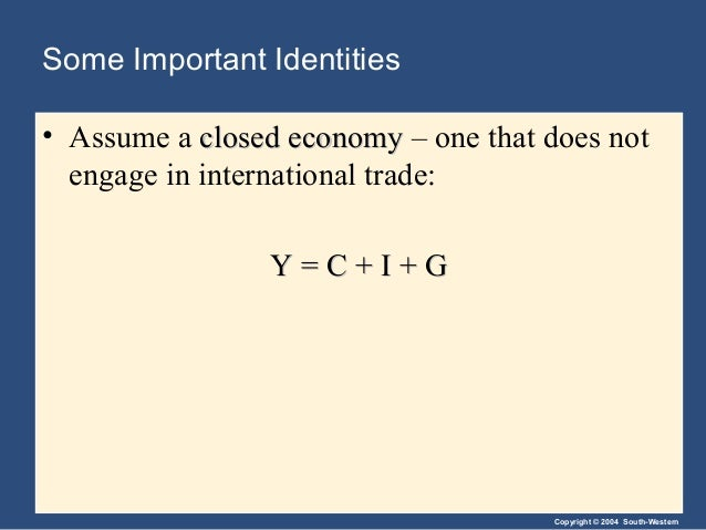 Copyright © 2004 South-Western Some Important Identities • Assume a closed economyclosed economy – one that does not engag...