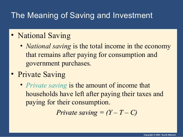 Copyright © 2004 South-Western The Meaning of Saving and Investment • National Saving • National saving is the total incom...