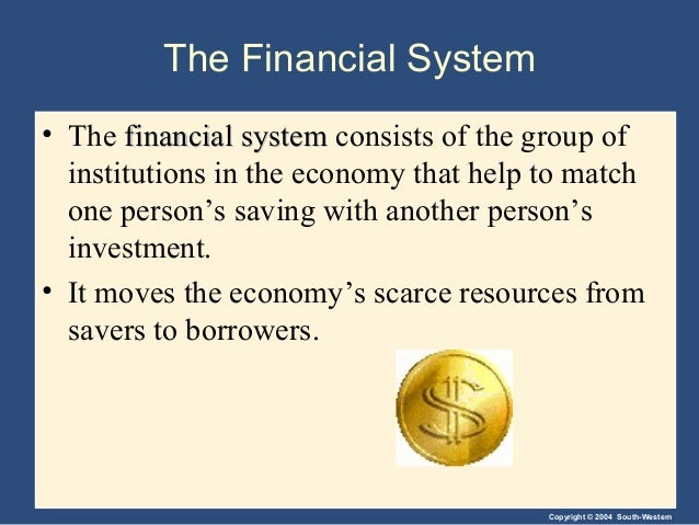 Copyright © 2004 South-Western The Financial System • The financial systemfinancial system consists of the group of instit...