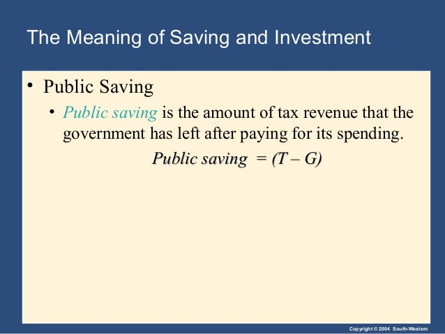 Copyright © 2004 South-Western The Meaning of Saving and Investment • Public Saving • Public saving is the amount of tax r...