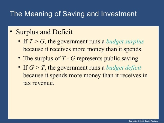 Copyright © 2004 South-Western The Meaning of Saving and Investment • Surplus and Deficit • If T > G, the government runs ...