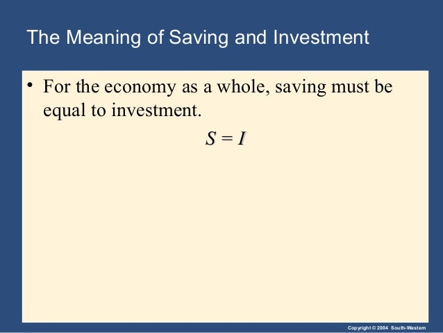 Copyright © 2004 South-Western The Meaning of Saving and Investment • For the economy as a whole, saving must be equal to ...