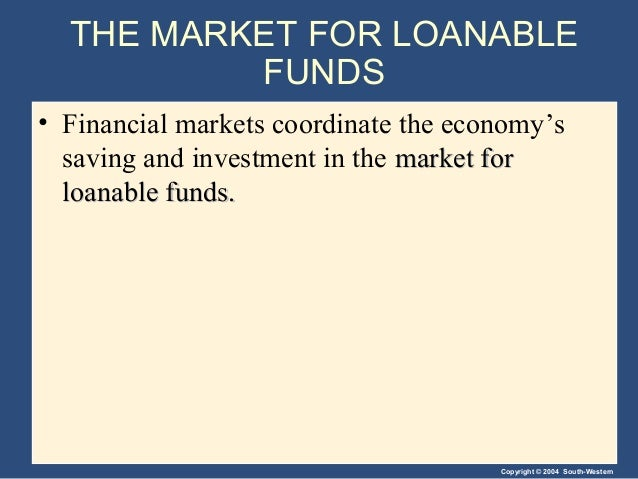 Copyright © 2004 South-Western THE MARKET FOR LOANABLE FUNDS • Financial markets coordinate the economy's saving and inves...