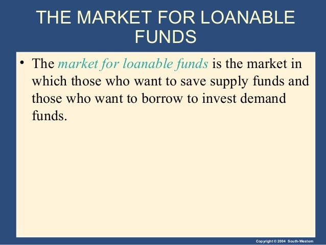 Copyright © 2004 South-Western THE MARKET FOR LOANABLE FUNDS • The market for loanable funds is the market in which those ...