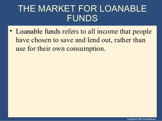 Copyright © 2004 South-Western THE MARKET FOR LOANABLE FUNDS • Loanable fundsLoanable funds refers to all income that peop...