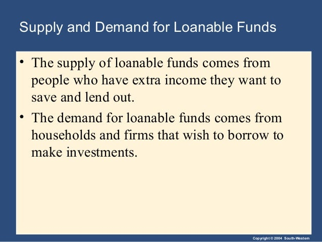 Copyright © 2004 South-Western Supply and Demand for Loanable Funds • The supply of loanable funds comes from people who h...