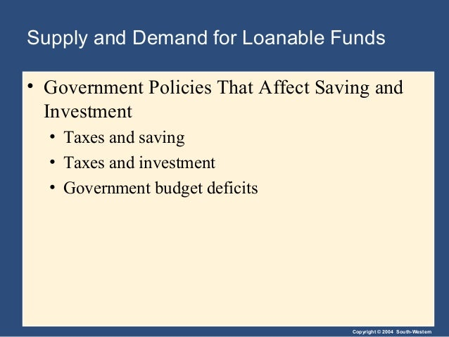 Copyright © 2004 South-Western Supply and Demand for Loanable Funds • Government Policies That Affect Saving and Investmen...