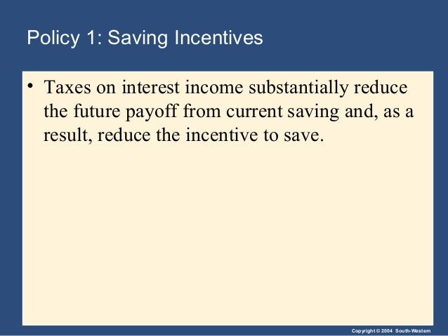 Copyright © 2004 South-Western Policy 1: Saving Incentives • Taxes on interest income substantially reduce the future payo...