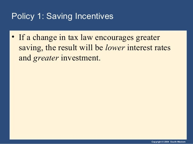 Copyright © 2004 South-Western Policy 1: Saving Incentives • If a change in tax law encourages greater saving, the result ...