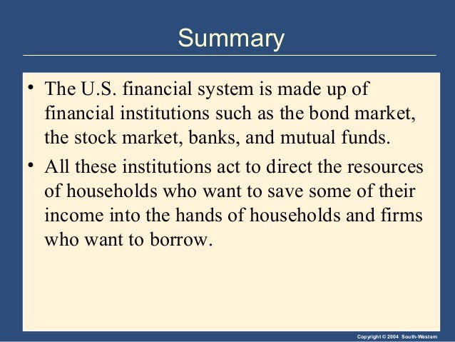 Copyright © 2004 South-Western Summary • The U.S. financial system is made up of financial institutions such as the bond m...