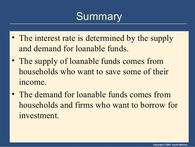 Copyright © 2004 South-Western Summary • The interest rate is determined by the supply and demand for loanable funds. • Th...