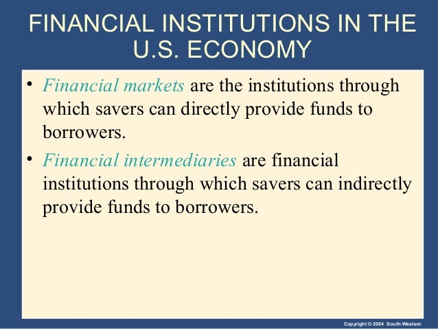 Copyright © 2004 South-Western FINANCIAL INSTITUTIONS IN THE U.S. ECONOMY • Financial markets are the institutions through...