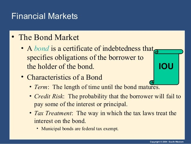 Copyright © 2004 South-Western Financial Markets • The Bond Market • A bond is a certificate of indebtedness that specifie...