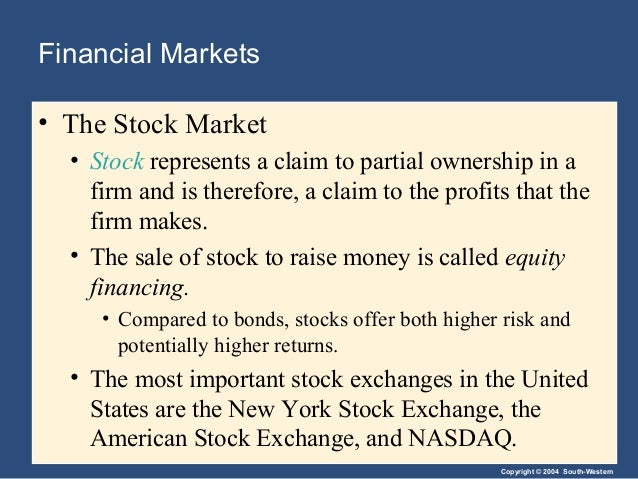 Copyright © 2004 South-Western Financial Markets • The Stock Market • Stock represents a claim to partial ownership in a f...