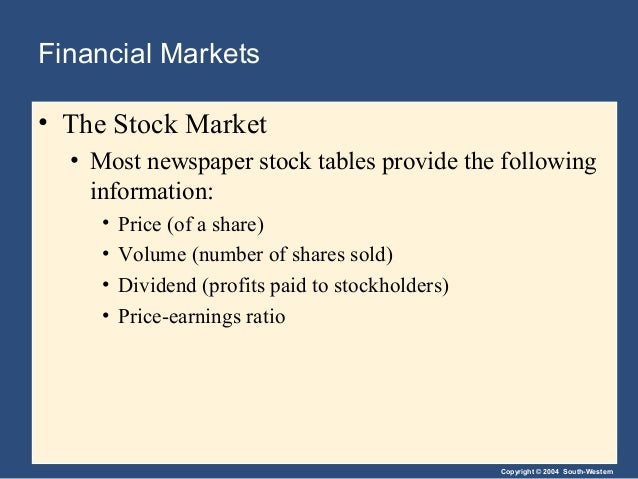 Copyright © 2004 South-Western Financial Markets • The Stock Market • Most newspaper stock tables provide the following in...