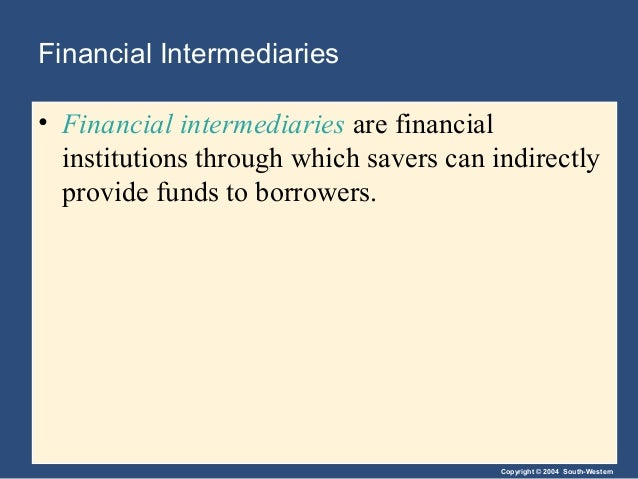 Copyright © 2004 South-Western Financial Intermediaries • Financial intermediaries are financial institutions through whic...