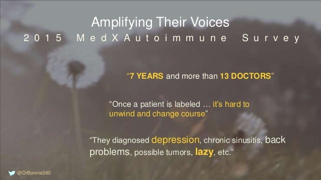 """Amplifying Their Voices """"7 YEARS and more than 13 DOCTORS"""" 2 0 1 5 M e d X A u t o i m m u n e S u r v e y """"Once a patient..."""