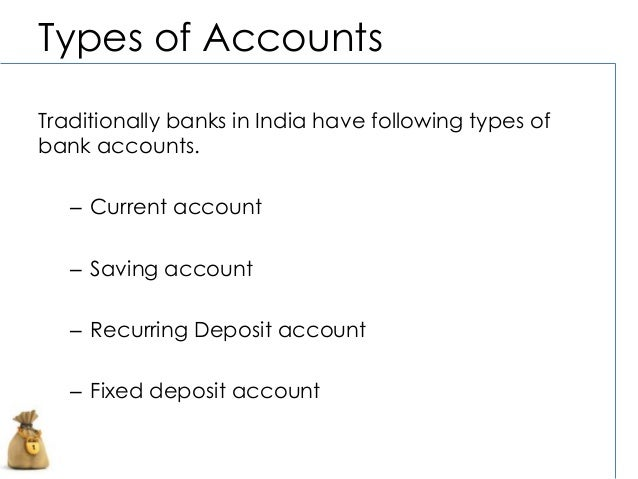 Type of bank accounts