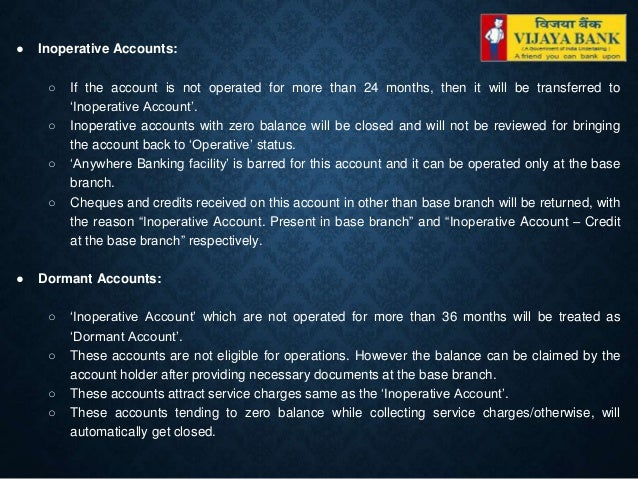 Savings Bank Account Of Vijaya Bank