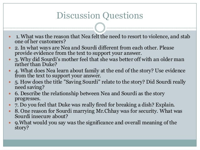 what is the plot of saving sourdi Please type your thesis/claim from saving sourdi 1 in saving suordi, may lee chai uses nea's perspective to tell the story, creating a tendency for the reader to take her side emotionally due to elevated levels of sympathy, and constructs a touching story about losing a sister.