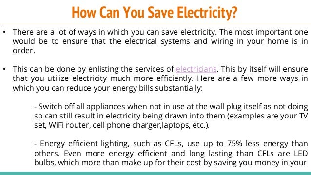 How Can You Save Electricity?