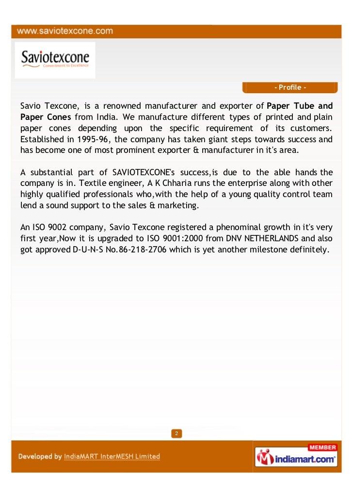 Savio Texcone Private Limited, Hapur , Paper cone Slide 2
