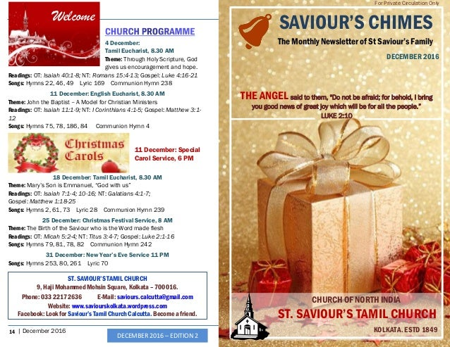 "Saviour'S Chimes"" Church Newsletter - December 2016"