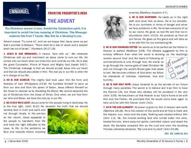 SaviourS Chimes Church Newsletter  December
