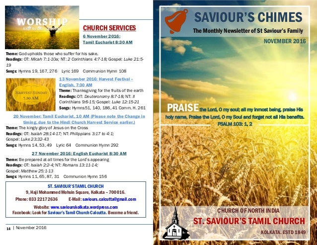 SaviourS Chimes Church Newsletter  November