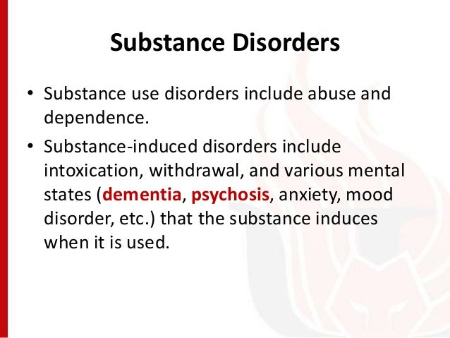 the signs and symptoms of substance abuse disorder