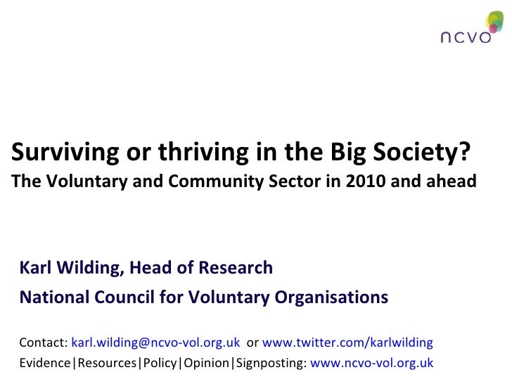 Surviving or thriving in the Big Society? The Voluntary and Community Sector in 2010 and ahead Karl Wilding, Head of Resea...