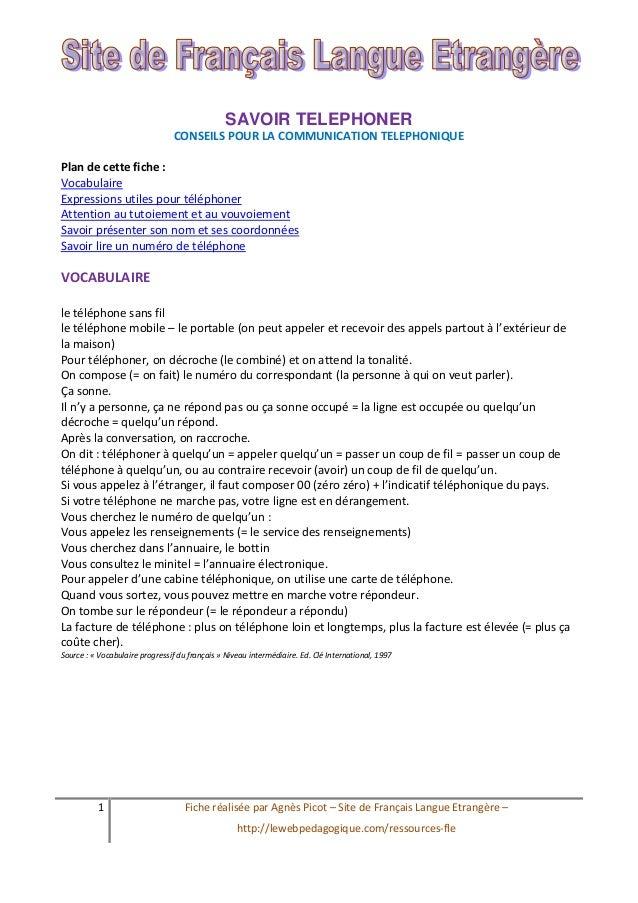 1 Fiche réalisée par Agnès Picot – Site de Français Langue Etrangère – http://lewebpedagogique.com/ressources-fle SAVOIR T...