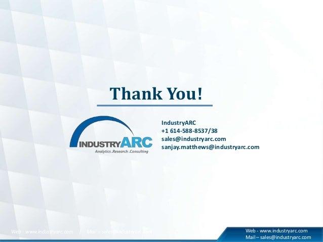 Thank You! IndustryARC +1 614-588-8537/38 sales@industryarc.com sanjay.matthews@industryarc.com Web - www.industryarc.com ...