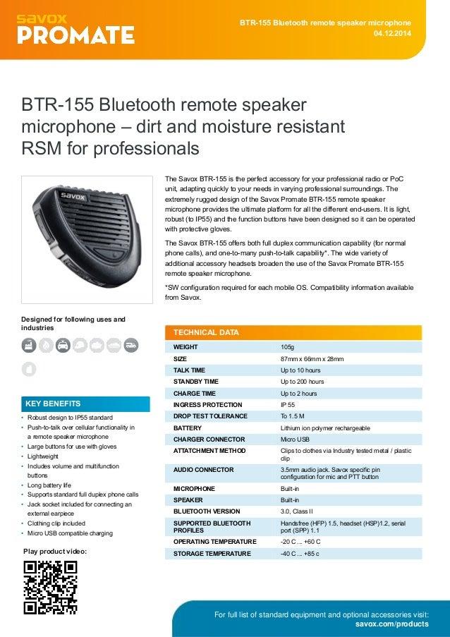 Savox BTR-155 bluetooth remote speaker microphone (RSM) for