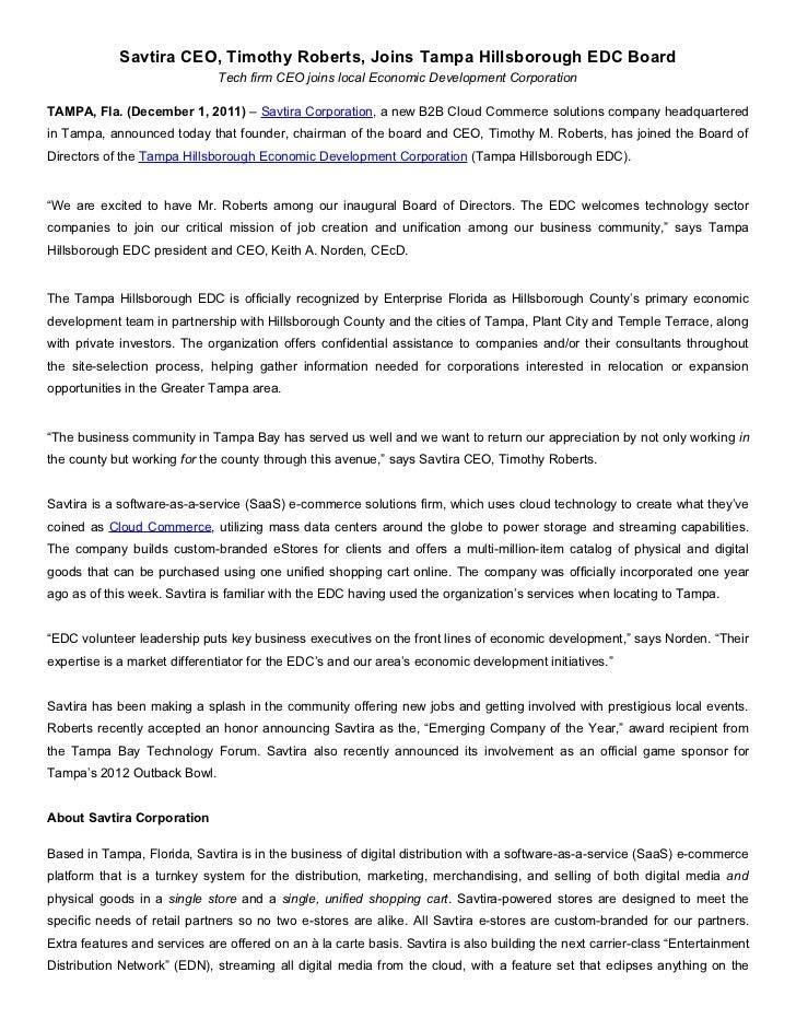 Savtira CEO, Timothy Roberts, Joins Tampa Hillsborough EDC Board