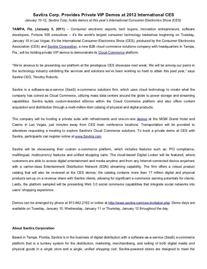 Savtira Corp. Provides Private VIP Demos at 2012 International CES