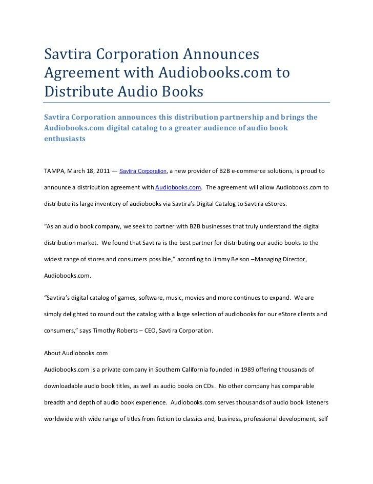 Savtira Corporation Announces Agreement with Audiobooks.com to Distribute Audio Books<br />Savtira Corporation announces t...