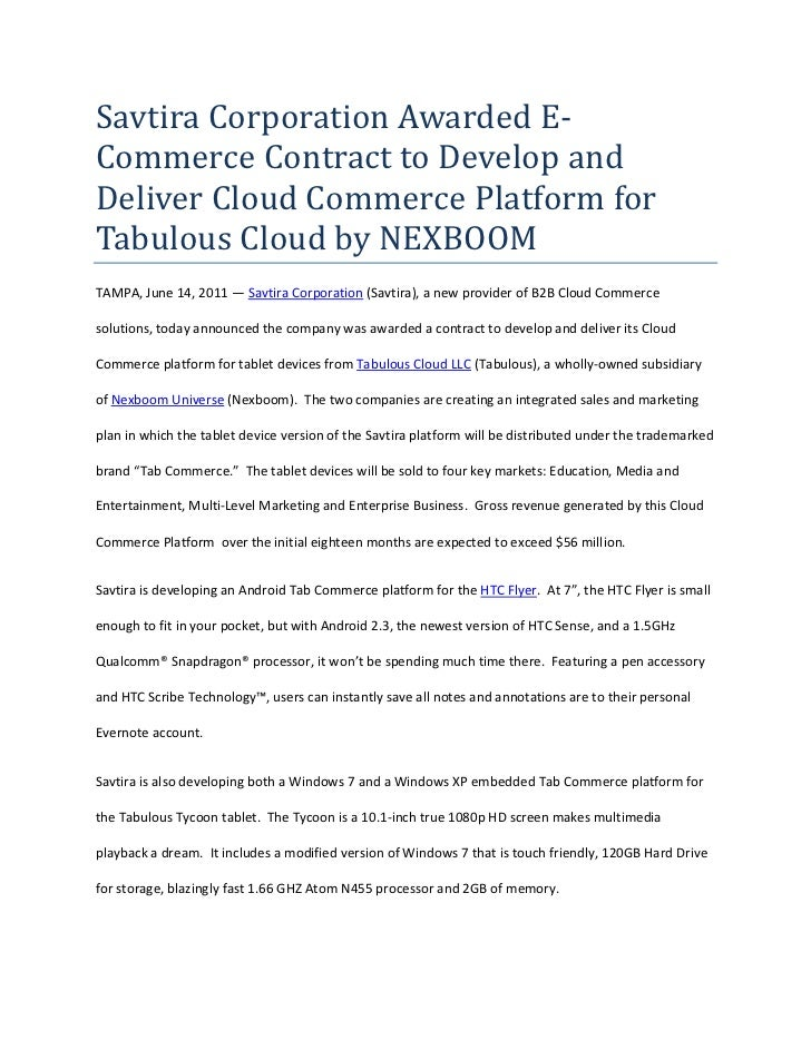 Savtira Corporation Awarded E-Commerce Contract to Develop and Deliver Cloud Commerce Platform for Tabulous Cloud by NEXBO...
