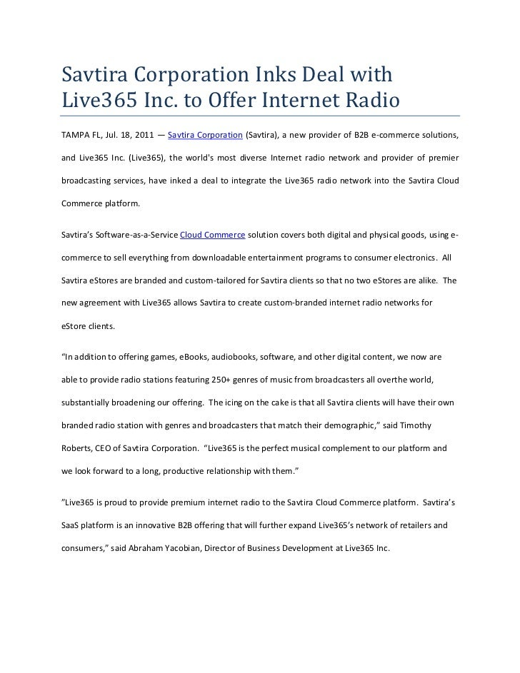 Savtira Corporation Inks Deal with Live365 Inc. to Offer Internet Radio<br />TAMPA FL, Jul. 18, 2011 — Savtira Corporation...