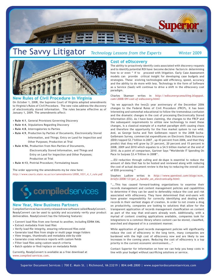 The Savvy Litigator                                           Technology Lessons from the Experts                         ...