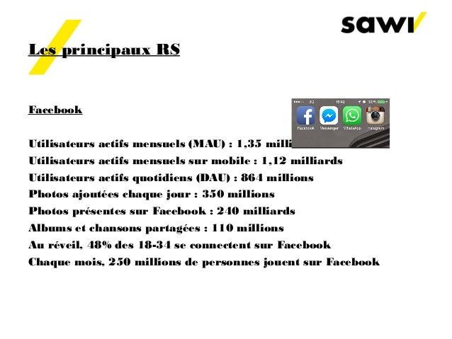 Les principaux RS Facebook Utilisateurs actifs mensuels(MAU) : 1,35 milliard Utilisateurs actifs mensuels sur mobile: 1,...