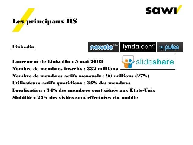 Les principaux RS Linkedin Lancement de LinkedIn : 5 mai 2003 Nombre de membres inscrits : 332millions Nombre de membres ...